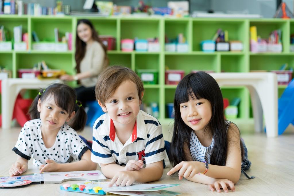 preschool students in their art class